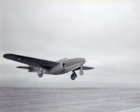 The XP-59A, America's first turbojet-powered airplane.  On October 1, 1942, as Bell test pilot Bob Stanley completed the final series of high-speed taxi tests, the aircraft's wheels lifted off from the surface of Rogers Dry Lake and, for the first time, an American turbojet became airborne. The official first flight took place October 2. (U.S. AIr Force Photo courtesy AFFTC History Office)