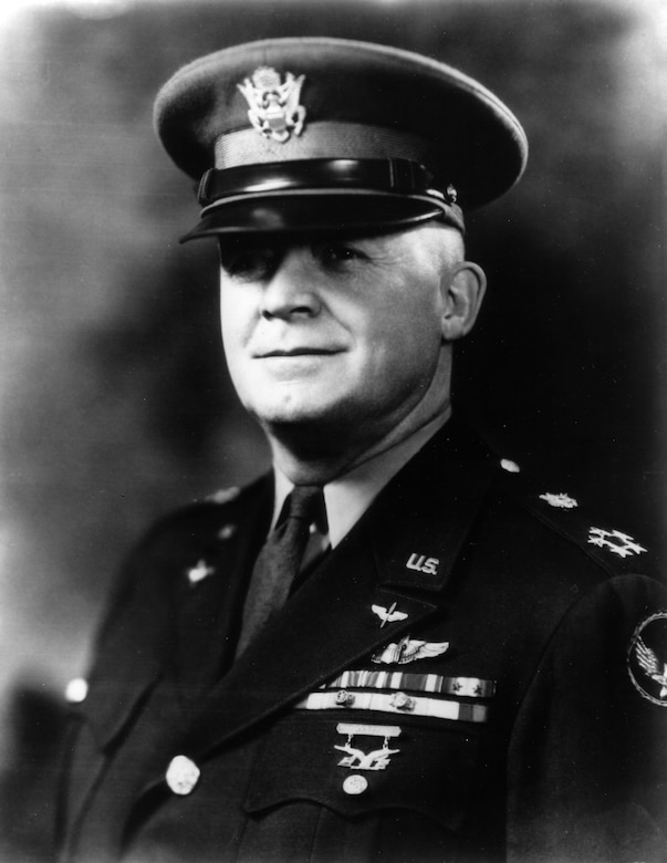 "Brig. Gen. Henry H. ""Hap"" Arnold, commander of the 1st Wing of General Headquarters Air Force at March Field, California.  On October 22, 1935, he had outlined to the House Military Committee the additional land and resources needed to complete the Muroc Bombing and Gunnery Range at Muroc, California, future site of Edwards Air Force Base. (U.S. Air Force Photo courtesy AFFTC History Office)"