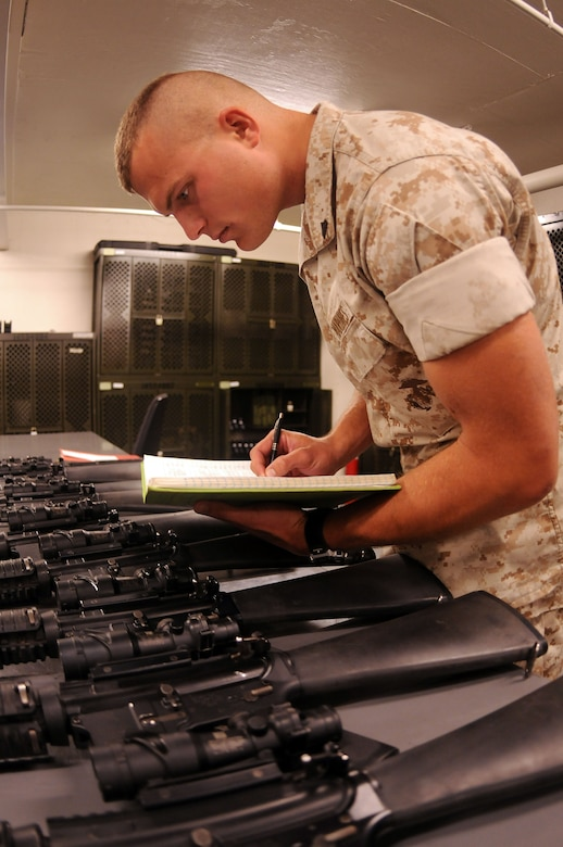 Corporal Timothy Earle conducts a monthly serialized weapons inventory in preparation for an upcoming overseas deployment. Earle is a Reservist assigned to the Marine Corps Reserve Training Command, 4th Landing Support Battalion, Charlie Company at Joint Base Charleston - Weapons Station. (U.S. Navy photo/Petty Officer 1st Class Jennifer Hudson)