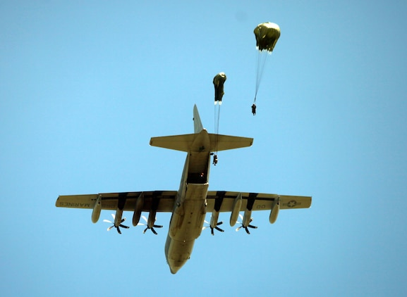 Marines with Force Reconnaissance Platoon, 31st Marine Expeditionary Unit, jump out of a C-130 Hercules airplane during a bilateral, low-level static-line parachuting exercise, Oct 25. The Marines were conducting the training with members of the Philippine Armed Forces during the Amphibious Landing Exercise. The 31st MEU is operating in support of the 3rd Marine Expeditionary Brigade for the exercise, is the only continuously forward-deployed MEU and remains the United States' force in readiness in the Asia-Pacific region.