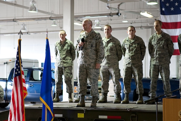 Col. Christopher Coffelt, 90th Missile Wing commander, addresses Airmen in the Maintenance High Bay during the maintenance team send off for the 2nd Annual Global Strike Challenge earlier this year. (U.S. Air Force photo by Matt Bilden)