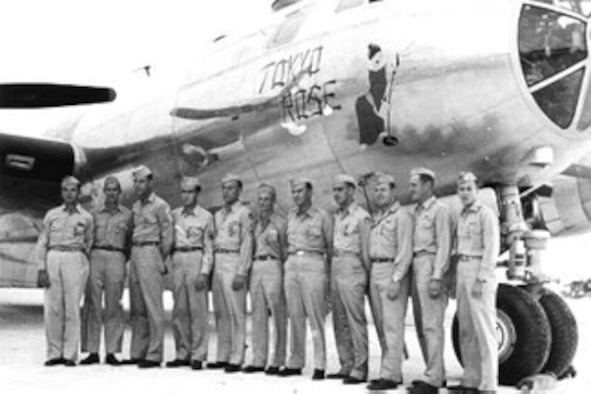 """The photo depicts the crewmembers of the """"Tokyo Rose"""" after receiving medals for the first photo reconnaissance mission over Tokyo, 1 Nov 44. It was the first U.S. aircraft over Tokyo since Doolittle's Raid 2½ years earlier. (Photo from Col. Richard M. Hutchins, USAF-Ret)"""