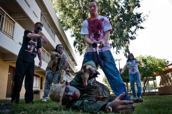 The Centers for Disease Control and Prevention recommends being prepared for a wide range of emergencies, including a zombie apocalypse. In the spirit of the Halloween holiday, members of Incirlik Air Base, Turkey, depicted what a zombie apocalypse may look like. (U.S. Air Force photo by Tech. Sgt. Michael B. Keller/Released)