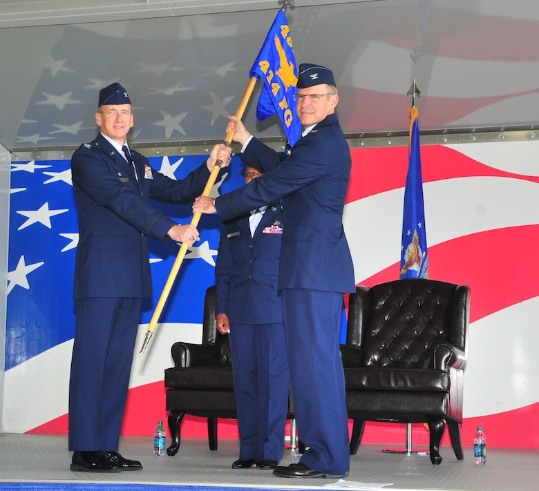 Col. Keith Acree (right) assumes command of the 414th Fighter Group from Col. Donald R. Lindberg, 482nd Fighter Wing commander on Oct. 12, 2011. (USAF photo courtesy of 4FW/PA)