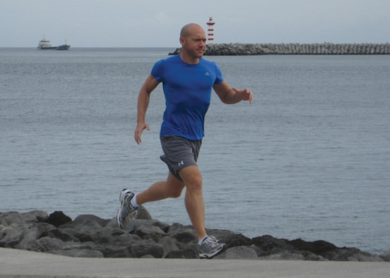 1st Lt. Christopher Lester runs in Praia da Vitoria nearby Lajes Field, Azores, Oct. 22, 2011.  Lester runs an average of 2,500 miles a year. (Courtesy photo)