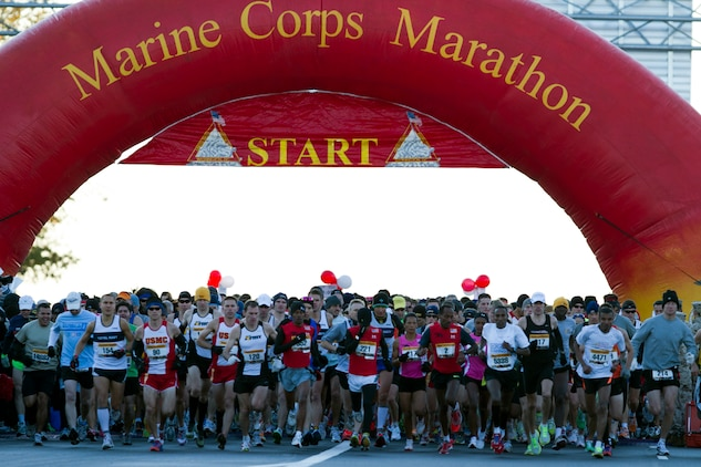 Participants in the 36th annual Marine Corps Marathon kick off the race through the nation's capital Oct. 30. Actor Drew Carey fired the starting shot and there were a total of 30,000 participants from all walks of life who ran the 26.2 mile race.