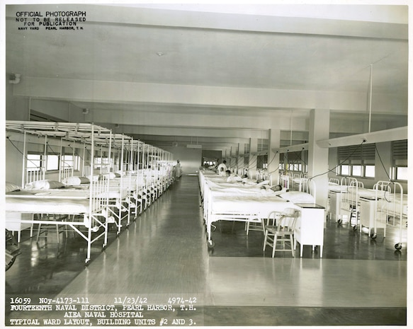 Aiea Naval Hospital, which was decommissioned May 31, 1949, once housed these standard wards throughout its wings. Today those wings have been separated into offices where different work sections in U.S. Marine Corps Forces, Pacific support operations for Marines here and around the world. The building that currently headquarters MarForPac was once the primary rear-area hospital for the Navy and Marine Corps during World War II.