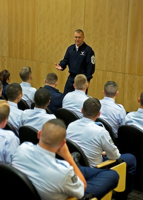 Chief Master Sgt. of the Air Force James Roy speaks to Airmen attending Perfessional Military Education courses and Airmen from the First Term Airmen Center during his visit to Joint Base Elmendorf-Richardson August 29, 2011.  CMSAF Roy came to JBER to hear concerns of Airmen but also to share what the future of the Air Force holds.  (U.S. Air Force photo/Staff Sgt. Zachary Wolf)