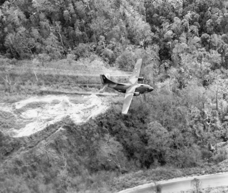 U.S. Air Force Ranch Hand crews sprayed defoliants to clear jungle hiding places around air base perimeters. (U.S. Air Force photo).