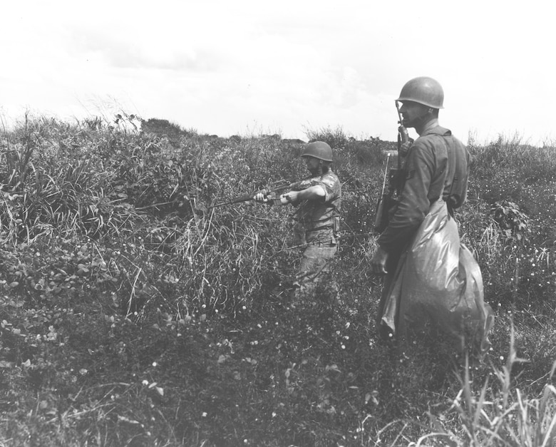 Air Police search for remaining enemy troops the morning after an attack on Tan Son Nhut in December 1966. (Images courtesy of the Security Forces Museum).