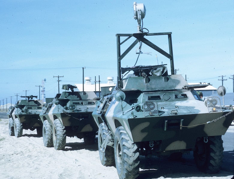 Security Police finally started receiving badly-needed armored vehicles in late 1968.  Pictured here are V-100 armored personnel carriers. The one in the front is also equipped with a searchlight. (U.S. Air Force photo).