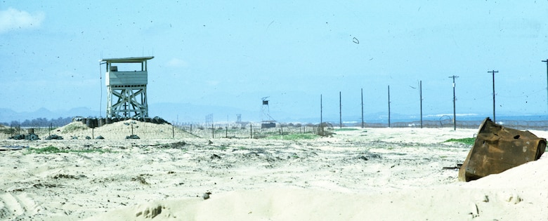 Watchtowers along the seaside perimeter of Tuy Hoa Air Base, South Vietnam.  Being located on the coast required Security Police to also defend against waterborne attack. (U.S. Air Force photo).