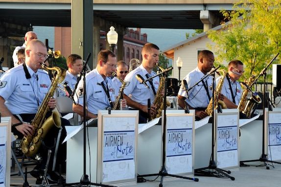 The U.S. Air Force Band's premier jazz ensemble the Airmen of Note perform at the Canal Place Festival Grounds in Cumberland, Md. on Sept. 1. This was the first stop the Airmen of Note made during their mini tour through the Midwest, leading up to their performance at the 2011 Detroit Jazz Festival. (U.S. Air Force photo/ Airman 1st Class Bahja J. Jones)
