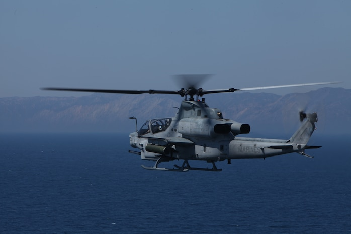 An AH-1Z Viper supports a counter-piracy training mission miles from Southern California's San Clemente Island Sept. 7. The attack helicopter is with Marine Medium Helicopter Squadron 268 (Reinforced), the aviation combat element for the 11th Marine Expeditionary Unit.  The unit embarked the amphibious assault ship Makin Island and amphibious transport dock New Orleans in San Diego to begin its second seagoing exercise since becoming a complete Marine air-ground task force in May.