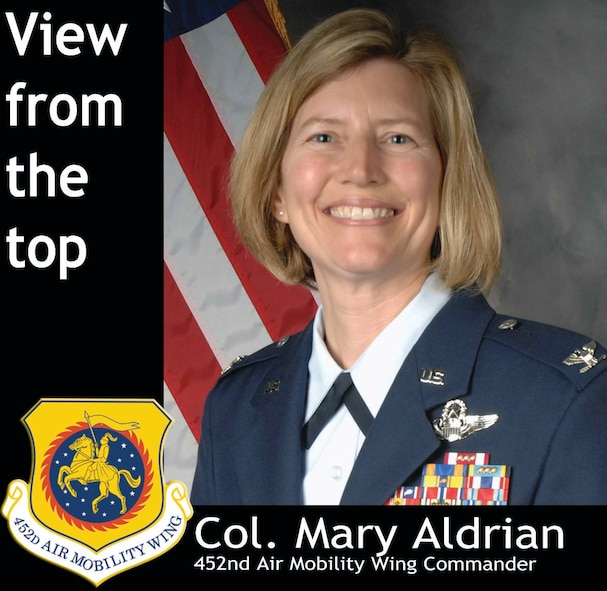 Col. Mary Aldrian is the 452nd Air Mobility Wing vice commander, serving as wing commander while Col. Karl McGregor is deployed.  She is a KC-135 Stratotanker pilot and longtime March reservist. (U.S. Air Force graphic/Megan Just)