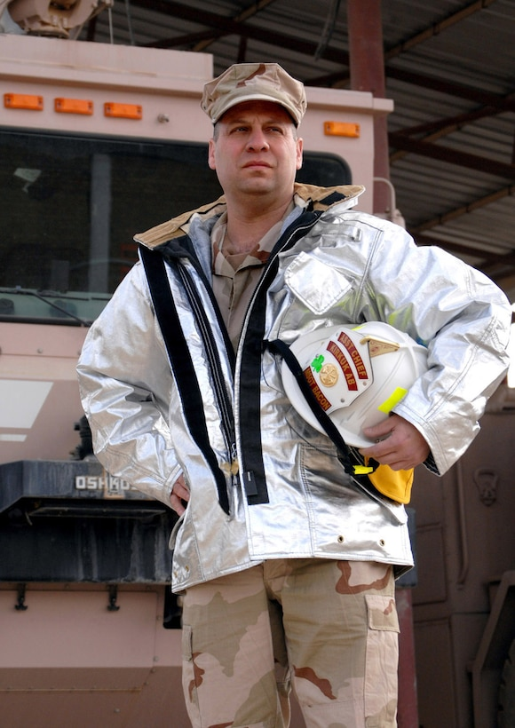 Master Sgt. Tyree Bacon, a firefighter, was deployed with the 506th Expeditionary Civil Engineer Squadron in February 2008.  He was in New York City on 9/11 and helped people escape before the World Trade Center collapsed. (U.S. Air Force photo/Senior Airman SerMae Lampkin)