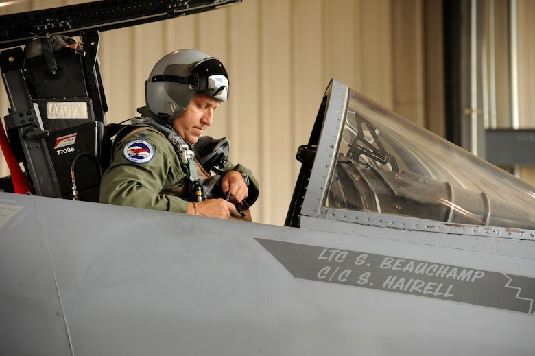 Oregon Air National Guard F-15 Eagles of the 142nd Fighter Wing prepare for take off. On September 11, 2001, it wasn't long before the Western Air Defense Sector (WADS) at McChord AFB, Wash., called on the Oregon Air National Guard to provide air defense for the Pacific Northwest. Lt. Col. Steve Beauchamp (pictured) and other Oregon Air National Guard pilots began to sit alert in the cockpit of their jets in anticipation of WADS tasking in a very dynamic and unpredictable threat environment. (U.S. Air Force Stock photograph by Tech. Sgt. John Hughel, 142nd Fighter Wing Public Affairs) (RELEASED)