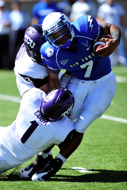 Air Force quarterback Tim Jefferson is brought down during a losing effort to the TCU Horned Frogs Sept. 10, 2011 at Falcon Stadium. Jefferson would eventually be replaced by backup Connor Dietz as the Horned Frogs handed the Falcons their first loss of the season, 35-19. (U.S. Air Force photo/Bill Evans)