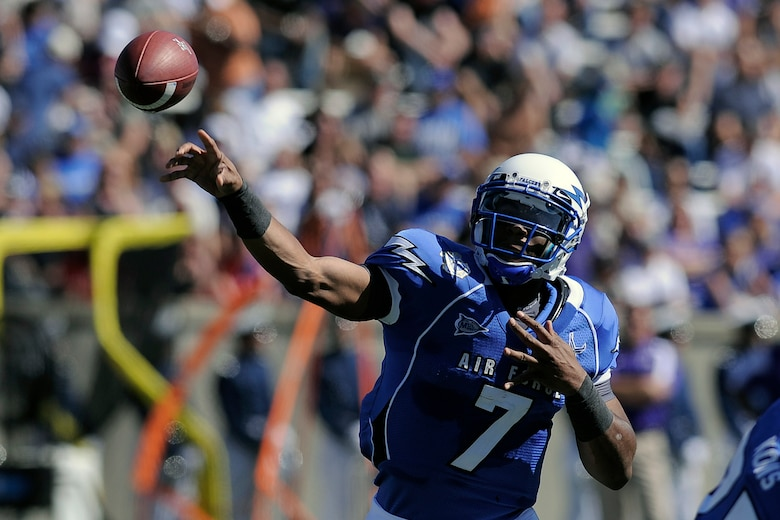 Air Force quarterback Tim Jefferson attempts a pass durng a losing effort to the TCU Horned Frogs Sept. 10, 2011 at Falcon Stadium. Backup quarterback Connor Dietz replaced Jefferson in the fourth quarter of the Falcons' 35-19 defeat. (U.S. Air Force photo/Mike Kaplan)