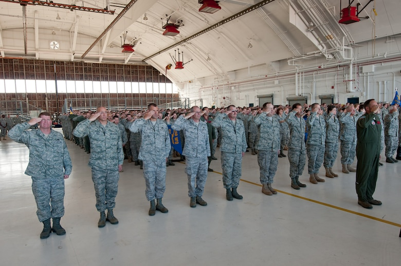 Members of team Buckely's 140th Wing, Colorado Air National Guard give a 'first salute' to their new commander, Brig. Gen. Richard L. Martin during a promotion and change of command ceremony Sept. 10. (U.S. Air Force photo/Master Sgt. John Nimmo, Sr.)