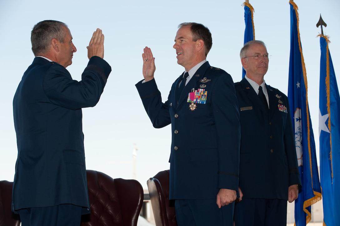 The Adjutant General of Colorado Maj. Gen. H. Michael Edwards administers the Oath of Office to Brig. Gen. Richard L. Martin Sept. 10. Martin is assuming command of the Colorado Air National Guard and the position of Assistant Adjutant General - Air. He is the former Director of Operations for the Colorado Air National Guard. (U.S. Air Force photo/Master Sgt. John Nimmo, Sr.) (RELEASED)