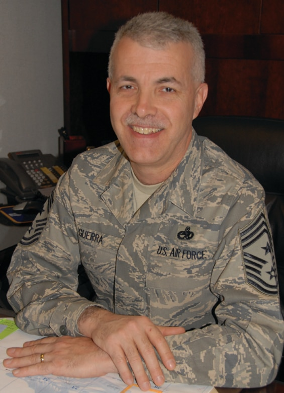 Chief Master Sgt. Vic Guerra has served as the wing commad chief of the 171st Air Refueling Wing in Pittsburgh since January 2007. (U.S. Air Force Photo by Master Sgt. Ann Young)