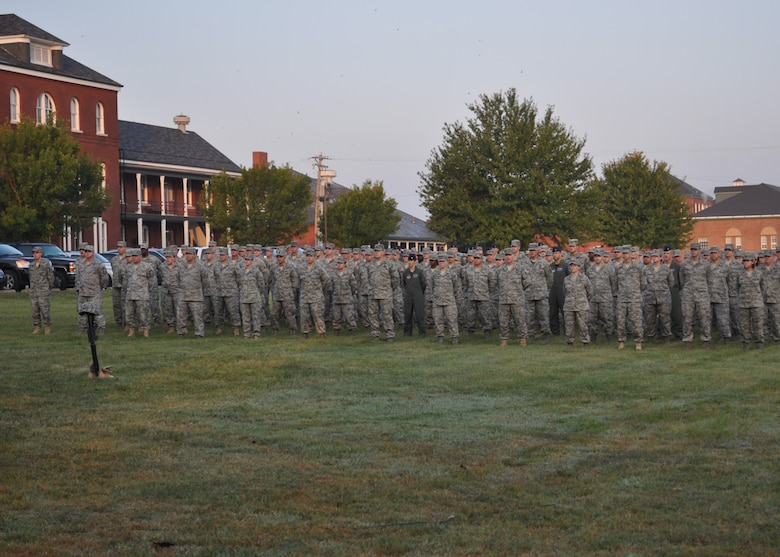 Hundreds of Airmen and Soldiers of the Missouri National Guard pay tribute at the Jefferson Barracks 9-11 remembrance ceremony Sunday morning on the 10th anniversary of the tragedy. (photo by Capt. Jason Konieczki)