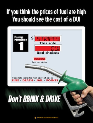 If you think the prices of fuel are high, you should see the cost of a DUI. This poster was produced as part of the on-going Don't Drink and Drive campaign. (U.S. Air Force graphic by Gary Rogers)