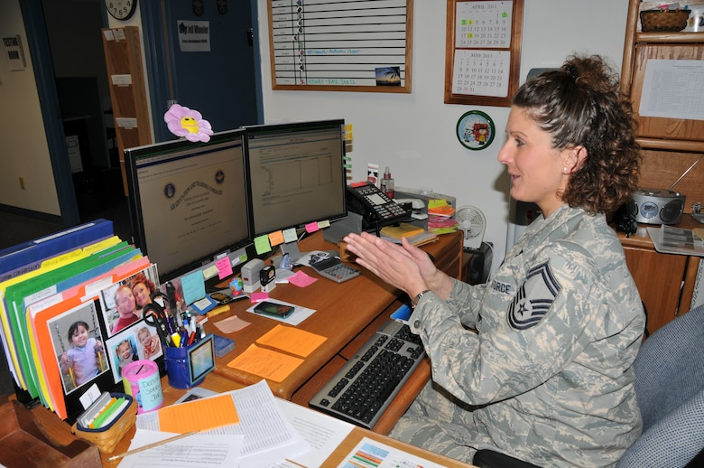 Senior Master Sergeant Tiffany Franklin completes one of the online computer based training courses offered through the Air Force ADLS. 