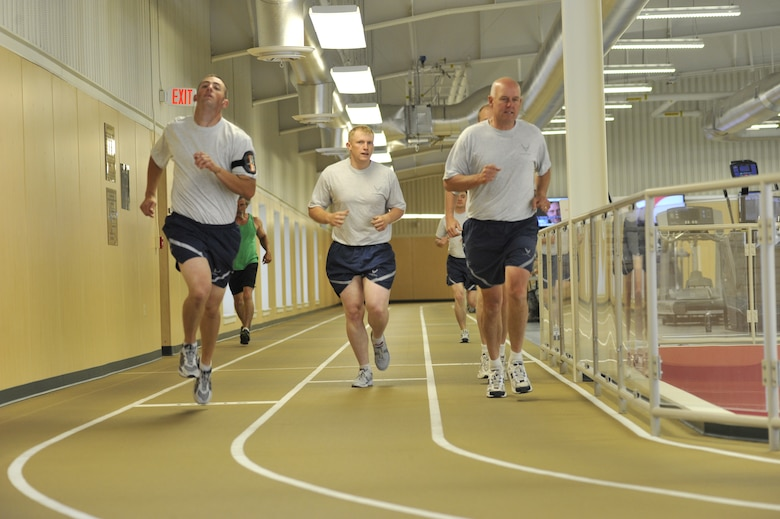 Col. Hronek and other members of the 120th Fighter Wing's leadership take part in the fitness test at the new facilities located at Malmstrom Air Force Base. (U.S. Air Force photo by Staff Sgt John Turner.)
