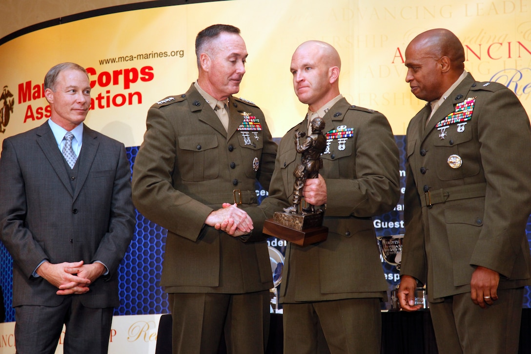 Assistant Commandant of the Marine Corps Gen. Joseph F. Dunford gives the keynote speech at the first Marine Corps Association Intelligence Award Dinner Sept. 15, 2011 in Arlington, Va. Four Marines and one civilian were recognized for excellent work in Marine Corps intelligence. The awards are named after Marines who have served the intelligence community.