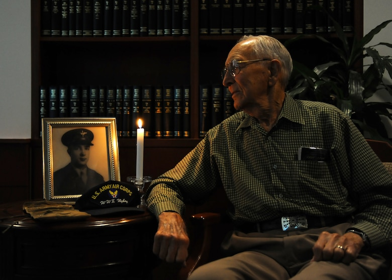 BUCKLEY AIR FORCE BASE, Colo. -- Harry Johnson, World War II veteran speaks about his experience during the war, Aug, 13, 2011. Johnson was one of the original members of the 460th Bomb Group in 1945. (U.S. Air Force photo by Senior Airman Marcy Glass)