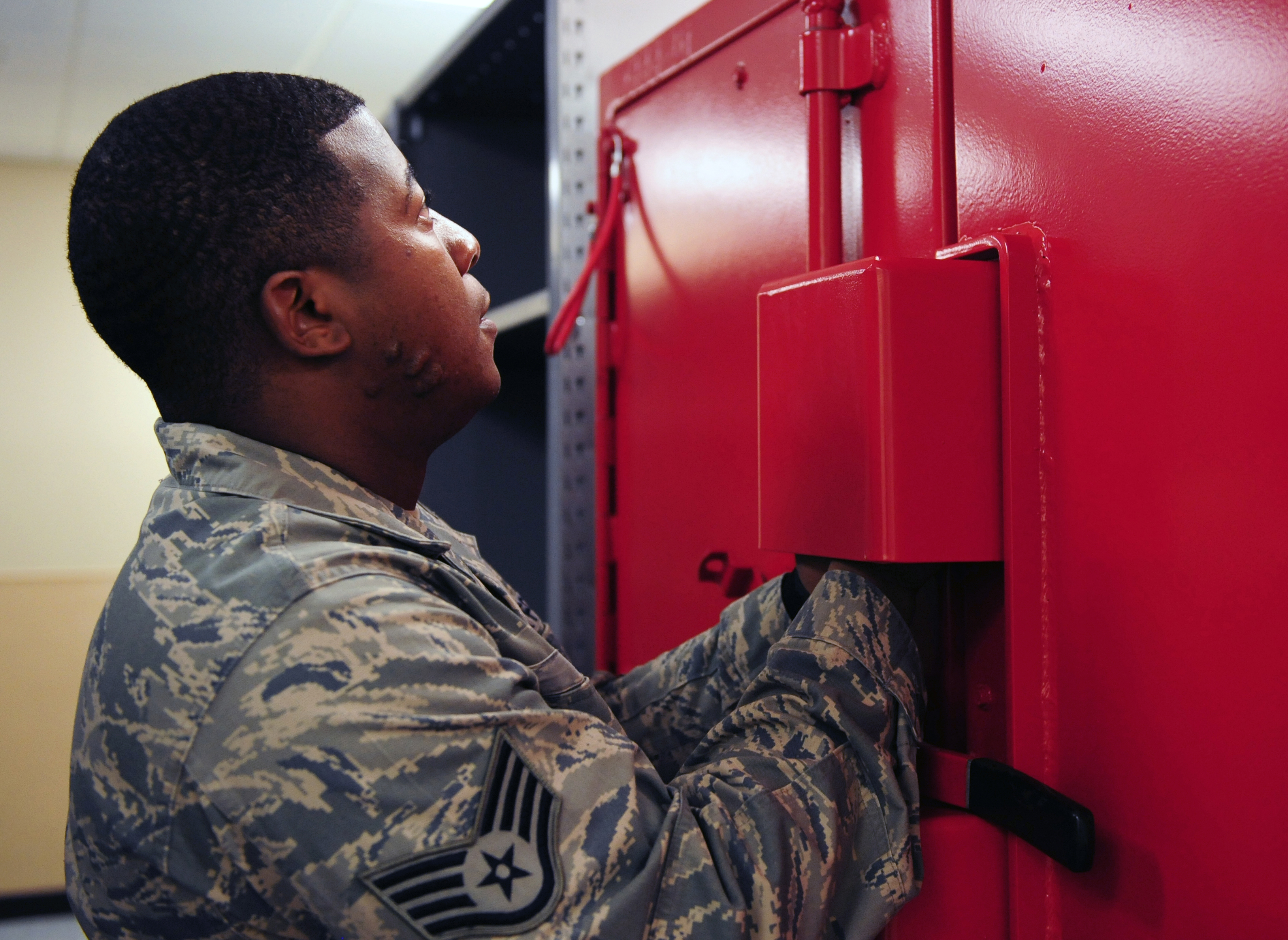 Staff Sgt Smith Opens The New Explosives Cabinet