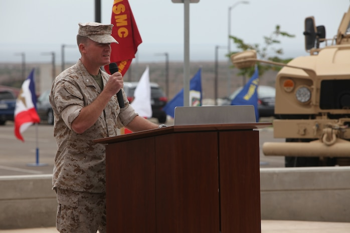 Lt. Col. Michael A. Brooks, commander of 1st Marine Special Operations Battalion, U.S. Marine Corps Forces, Special Operations Command, addresses the Marines and Sailors of 1st MSOB and their families and friends at a memorial dedication ceremony aboard Camp Pendleton, Calif. Sept. 16. September was a month of rememberance and reflection, marked by several ceremonies taking place throughout MARSOC to honor its fallen servicemembers and the victims of 9/11.