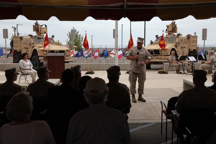 Maj. Gen. Paul E. Lefebvre, commander of U.S. Marine Corps Forces, Special Operations Command, delivers a speech at a memorial dedication ceremony aboard Camp Pendleton, Calif. Sept. 16, in which a monument dedicated to 1st Marine Special Operations Battalion's fallen warriors was unveiled. September was a month of rememberance and reflection, marked by several ceremonies taking place throughout MARSOC to honor its fallen servicemembers and the victims of 9/11.