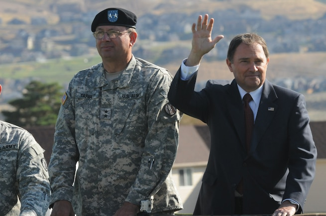 Governor Gary R. Herbert and Major General Brian L. Tarbet inspect the Utah National Guard troops during the Governor's Day parade Sept. 17.  (U.S. Air Force photo by Technical Sergean Kelly K. Collett)(RELEASED)