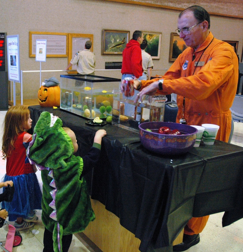 DAYTON, Ohio -- Young museum visitors enjoyed dressing up in costumes and learning about aerospace principles through Halloween-themed activities during Family Day at the National Museum of the U.S. Air Force. (U.S. Air Force photo)