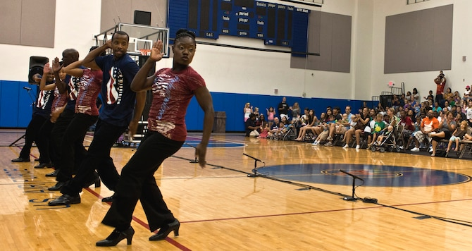 ANDERSEN AIR FORCE BASE, Guam— The Step Afrika dance team performs for military personnel, dependents and local residents at the Coral Reef Fitness Center here, Sep. 15. The group's main goal is to promote an understanding of and appreciation for stepping and the dance tradition's use as an educational tool for young people worldwide.  (U.S. Air Force photo by Senior Airman Benjamin Wiseman/Released)