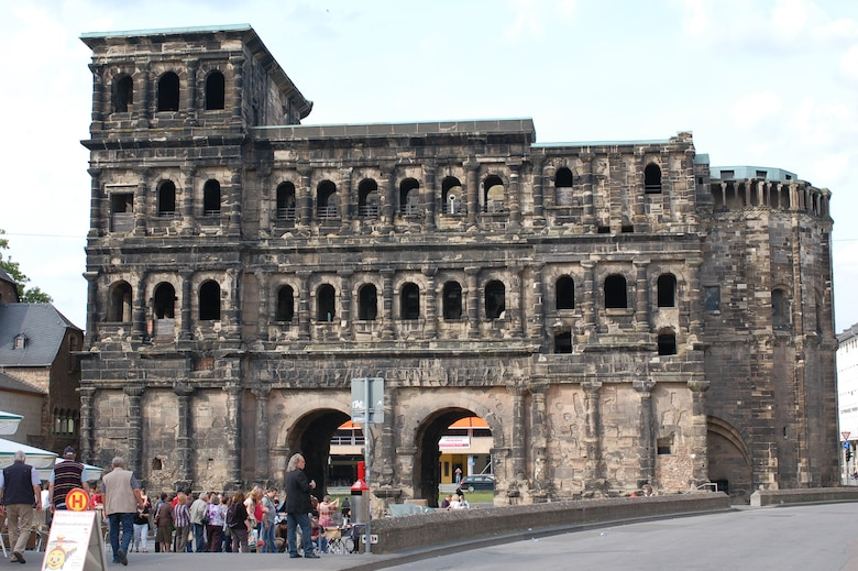 Trier's Porta Nigra, also known as the Black Gate to the city, dates back to the Roman Empire and is the symbol of the city. Many concerts and entertainment events occur in front of the Porta Nigra. To obtain more information about eventsin Trier and other locations throughout the Eifel, go to http://www.spangdahlem.af.mil/thesaberherald.asp. (US Air Force photo/Iris Reiff)