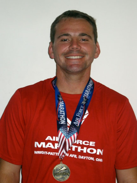 Air Force reservist Staff Sgt. Steve Sobieraj poses for a photo after completing the Air Force Half Marathon Sept. 17, 2011 at Wright-Patterson Air Force Base, Ohio.  Sobieraj is a member of the 452nd Security Forces Squadron at March Air Reserve Base, Calif. (Courtesy photo)