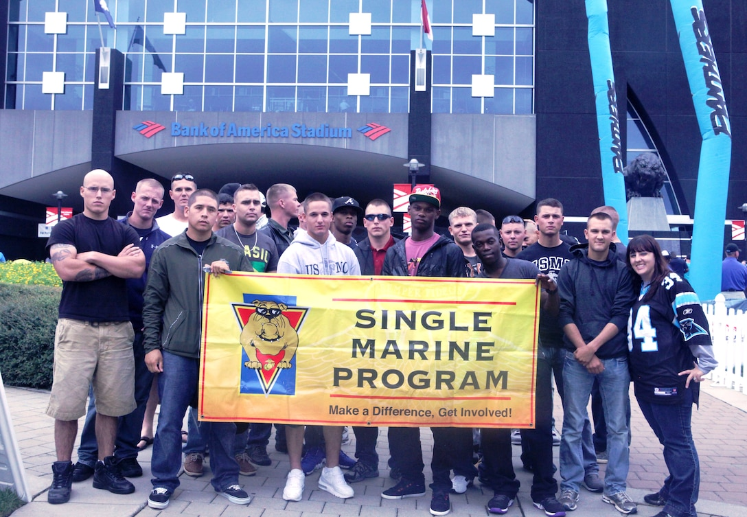 Members of the Single Marine Program aboard Marine Coprs Base Camp Lejeune and Camp Johnson gather together outside the Bank of America Stadium in Charlotte, N.C. The SMP group recently attended a Carolina Panthers' football game.