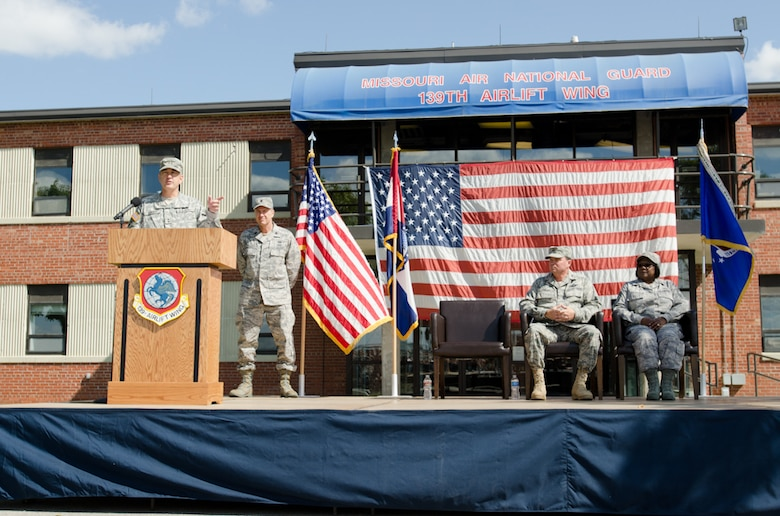 Maj. Gen. Stephen Danner, Missouri National Guard Adjutant General, speaks during the assumption of command on September 25, 2011 at Rosecrans Memorial Airport in Saint Joseph, Mo. Col. Pankau assumed command of the 139th becoming the 10th commander. (U.S. Air Force photo by Senior Airman Sheldon Thompson)