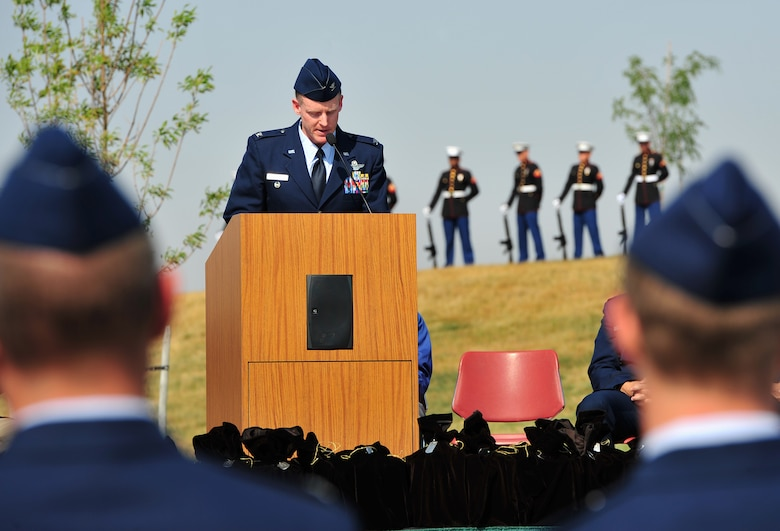 Col. Marc Van Wert, 92nd Air Refueling Wing vice commander, speaks during an honor service for the Missing in America Project at Washington State Veteran's Cemetery in Medical Lake, Wash., Sept. 12. The honor service is the largest mass honor service for the Missing in America Project in the nation to date. (U.S. Air Force Photo/Staff Sgt. Michael Means)