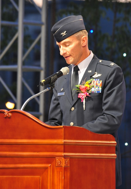 Col. Patrick McKenzie, 51st Fighter Wing Commander, provides opening remarks Sept. 24, 2011, during the eighth annual Korean American Friendship Cultural Festival. The festival was sponsored by the Songtan Chamber of Commerce and celebrates the great friendship between Koreans and Americans. (U.S. Air Force photo/Tech. Sgt. Chad Thompson)