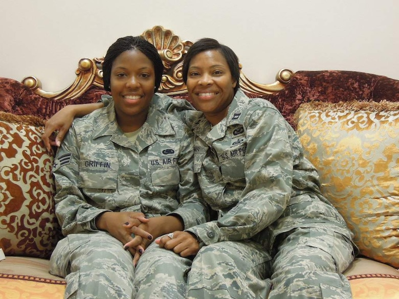 Senior Airman Crystal Griffin, 379th Expeditionary Logistics Readiness Squadron, and her Mother, Captain Greta Lewis, 386th Air Expeditionary Wing Public Affairs, are deployed simultaneously in the Area of Responsibility. (U.S. Air Force courtesy photo)
