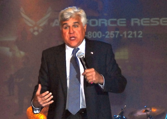 Comedian and late-night talk show host Jay Leno tore the house down during his performance for the troops in Hangar 4 at McChord Field, Wash., May 7. This was one of Leno's many stops during his Tour for the Troops sponsored by Air Force Reserve Recruiting Service. (U.S. Army photo by Spc. Jarrett Branch/Released)