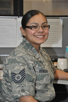 Tech. Sgt. Faviola Venegas is a flight records manager for the 452nd Operational Support Squadron at March Air Reserve Base, Calif. (U.S. Air Force photo/Tech. Sgt. Joe Davidson)