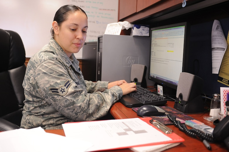 Airman 1st Class Jeannette Talamantes updates a spreadsheet after a vehicle inspection at Seymour Johnson Air Force Base, N.C., Sept. 27, 2011. The vehicle inspection results are used to inform the 4th Logistics Readiness Squadron vehicle management flight that vehicles are being maintained properly. Talamantes is a 4 LRS vehicle maintenance management analyst and native of Artesia, N.M. (U.S. Air Force photo by Senior Airman Whitney Stanfield)