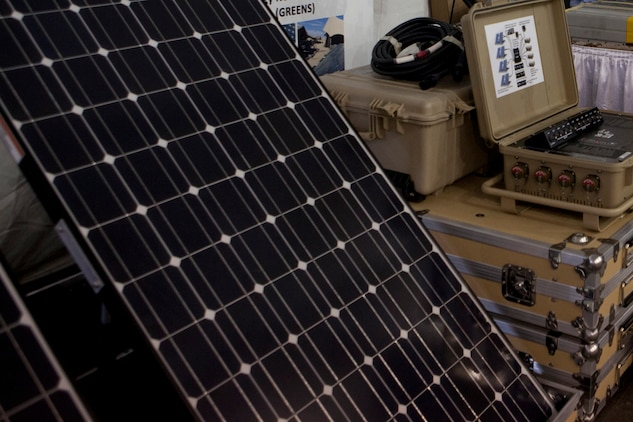A solar panel is displayed during the Modern Day Marine Military Exposition at Marine Corps Base Quantico, Va., Sept. 29. Solar technology allows the Marine Corps to cut down on fuel use, costs and dangerous resupply missions.