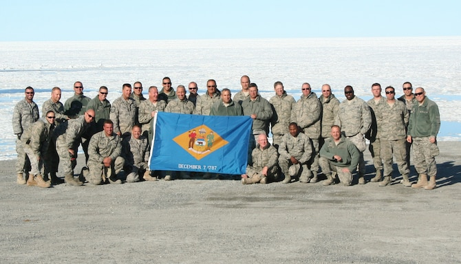 Airmen of the 166th Civil Engineer Squadron, Del. Air National Guard at Canadian Forces Station Alert July 26, 2011 for a two-week training mission. CFS Alert, on the northeastern tip of Ellesmere Island in the Canadian Arctic Archipelago, is the northernmost permanently inhabited place nearest the North Pole, 817 kilometers (508 miles) away. The 166th CES Prime Base Engineer Emergency Force personnel deploy anywhere in the world. (U.S. Air Force photo/Staff Sgt. Jessica Griffith)